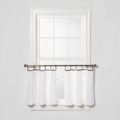 "24""x21"" Sheer Café Window Curtain Set with Contrast Edge Rings White/Gray - Threshold™"