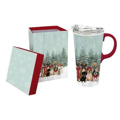 Cypress Home Ceramic Travel Cup, 17 Oz. ,W/Box And Tritan Lid, Royal Pups Holiday