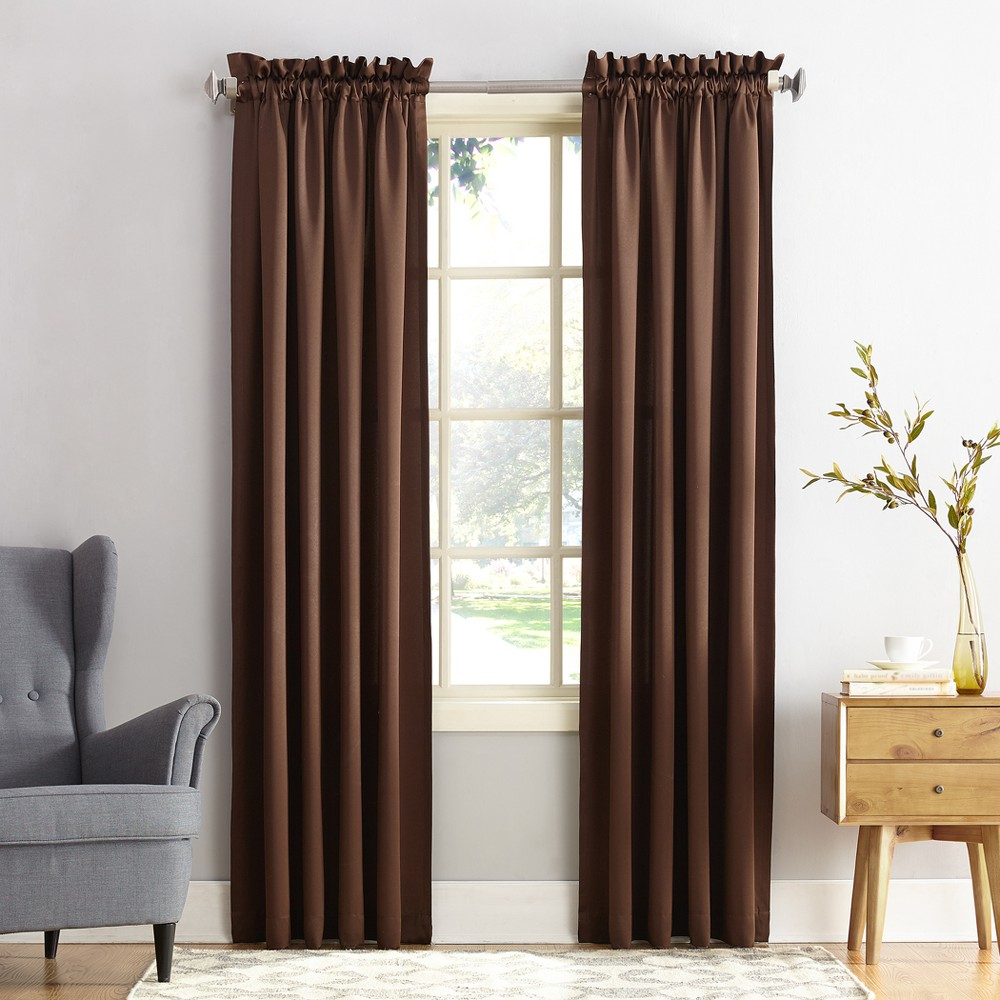 Seymour Energy Efficient Rod Pocket Curtain Panel Chocolate (Brown) 54