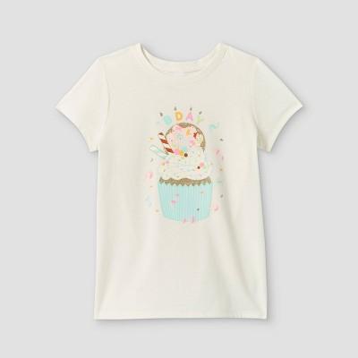 Girls' Birthday Cupcake Graphic Short Sleeve T-Shirt - Cat & Jack™ Cream