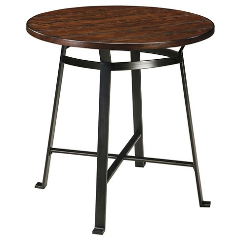 Challiman Round Dining Room Bar Table Metal Rustic Brown Signature Design By Ashley