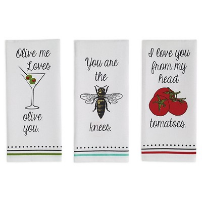 Love You Printed Dishtowel Red (Set Of 3)- Design Imports