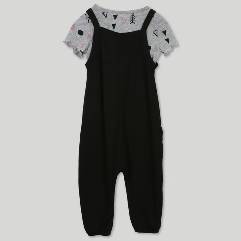 06aaa223a Afton Street Toddler Girls' 2pc Short Sleeve T-Shirt And Overall Set -  Black : Target