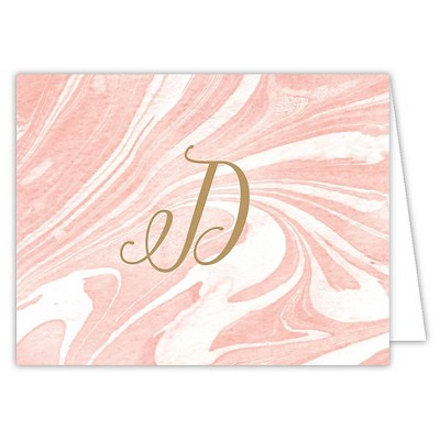 Marble Folded Notes Monogram D