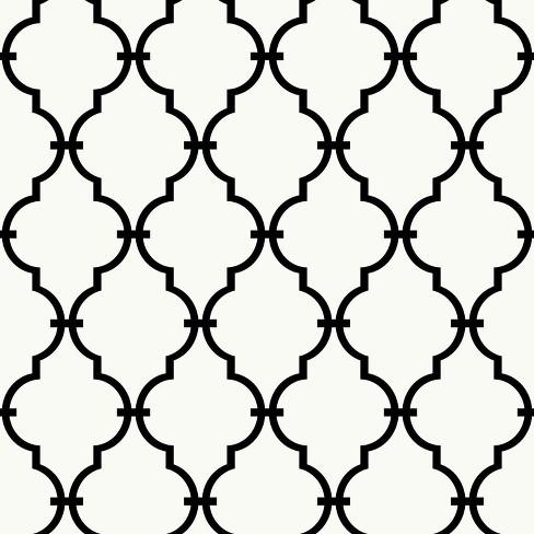 Modern Trellis Peel And Stick Wallpaper Black White Roommates