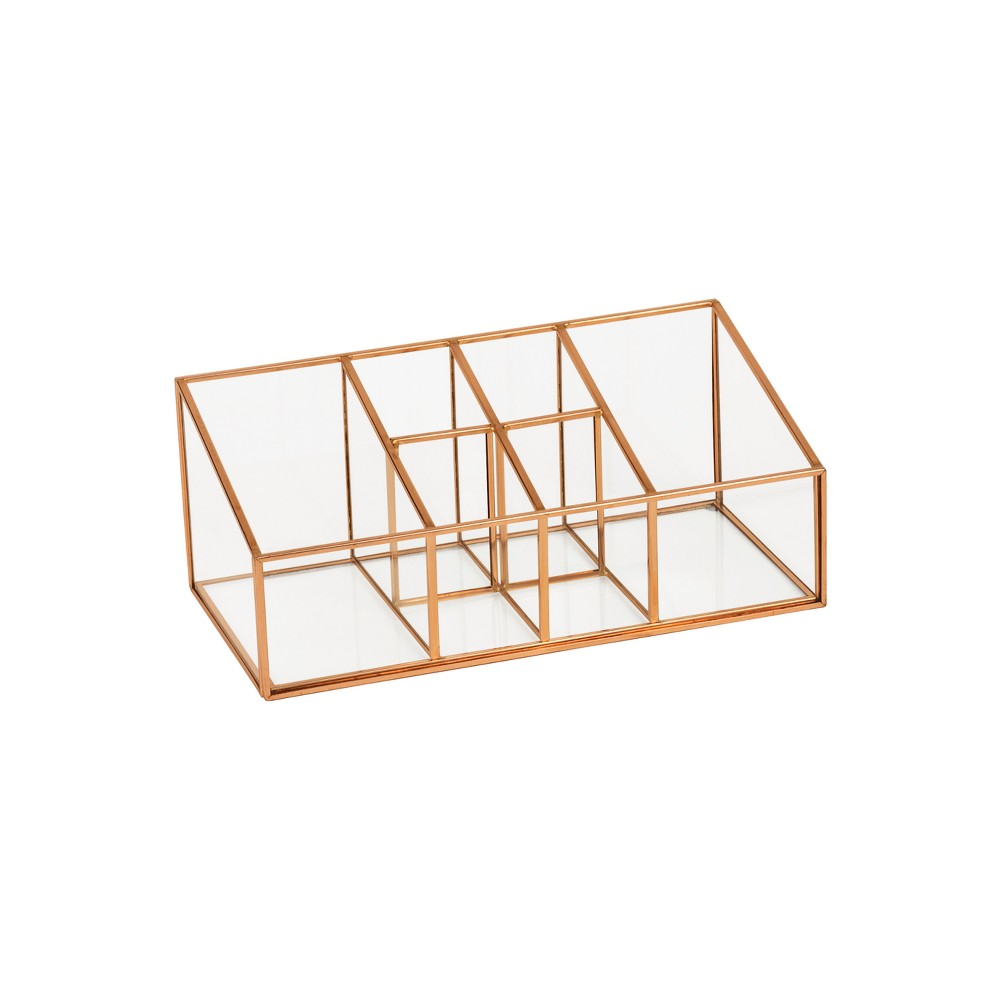 "Image of ""6 Compartment Glass & Metal Vanity Organizer Copper Finish 10""""X5""""X4"""" - Threshold , Brown"""