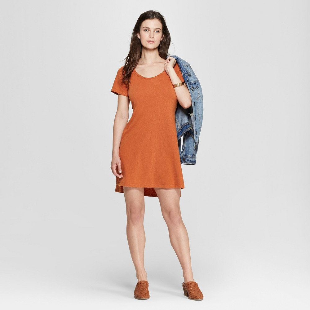 Women's Short Sleeve T-Shirt Dress - Universal Thread Orange S