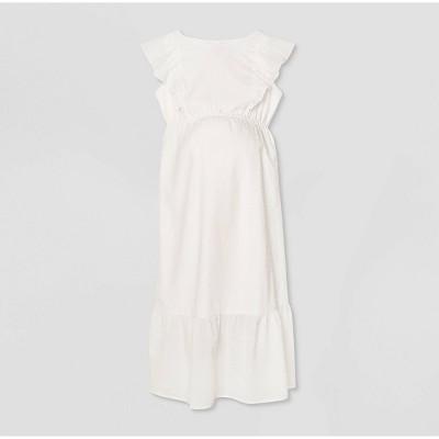Ruffle Short Sleeve Woven Maternity Dress - Isabel Maternity by Ingrid & Isabel™ White