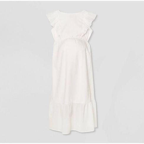 Ruffle Short Sleeve Woven Maternity Dress - Isabel Maternity by Ingrid & Isabel™ White - image 1 of 2