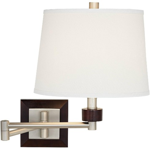 Possini Euro Design Modern Swing Arm Wall Lamp Brushed Nickel Espresso Wood Plug-In Light Fixture Off White Linen Shade Bedroom - image 1 of 4