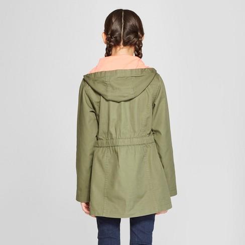 f8857fb4a Girls  Twill Parka Jacket - Cat   Jack™ Vermont Green   Target