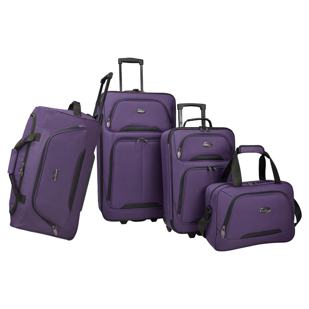U S Traveler Vineyard 4pc Softside Luggage Set Purple