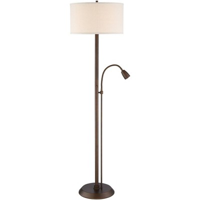 Possini Euro Design Modern Floor Lamp with Reading Light LED Oil Rubbed Bronze Oatmeal Fabric Drum Shade for Living Room Bedroom