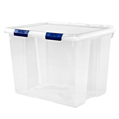 Hefty Hinged Lid Storage Box Clear 70qt