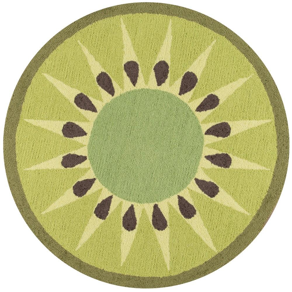 3 Fruit Hooked Round Accent Rug Green Novogratz By Momeni