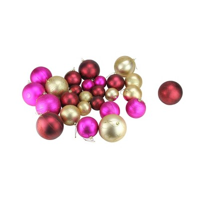 """CMI 27ct Pink and Burgundy Red Shatterproof Matte Christmas Ball Ornaments 4"""" (100mm)"""