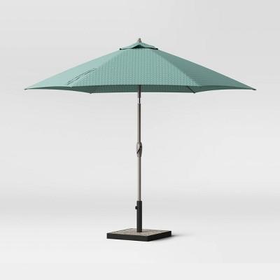 9' Round City Geo Patio Umbrella DuraSeason Fabric™ Smoke Green - Ash Pole - Project 62™