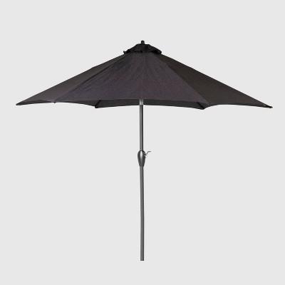 9' Round Patio Umbrella DuraSeason Fabric™ Black - Black Pole - Threshold™