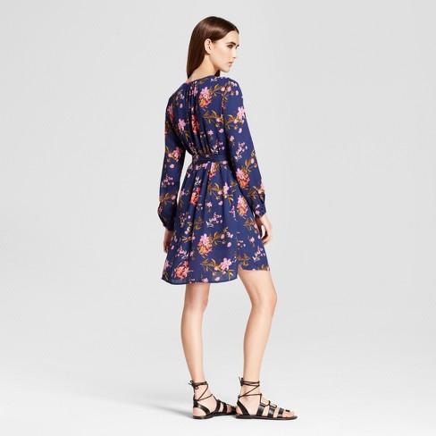 46fa2773e9 Women s Floral Long Sleeve Keyhole Tie Waist Dress - Eclair Navy   Target