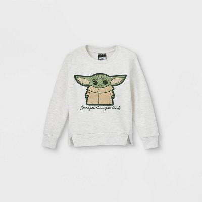 Toddler Boys' Baby Yoda Fleece Chenille Patch Pullover - Cream