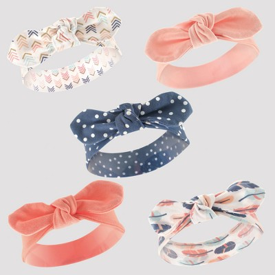 Hudson Baby Girls' 5pk Headband Set - Pink/Coral 0-12M