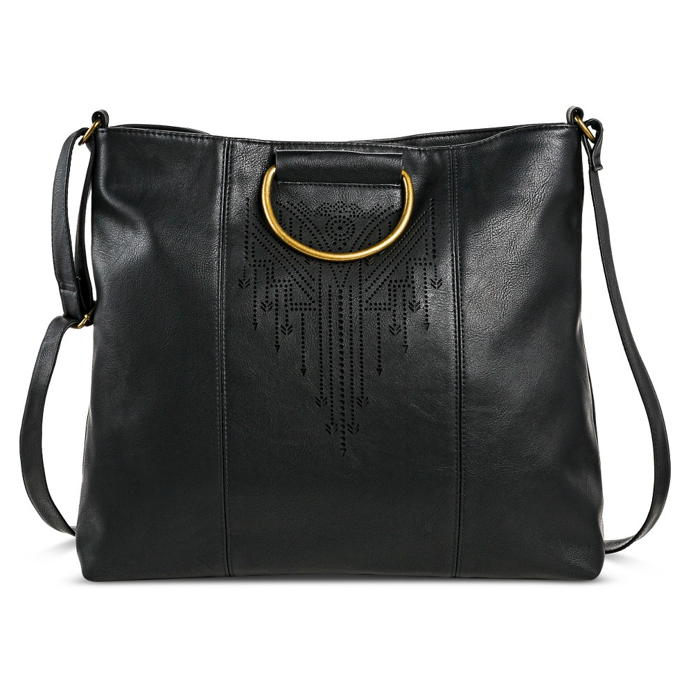 T-Shirt & Jeans Women's Faux Leather Tote Handbag with Magnetic Closure - Black
