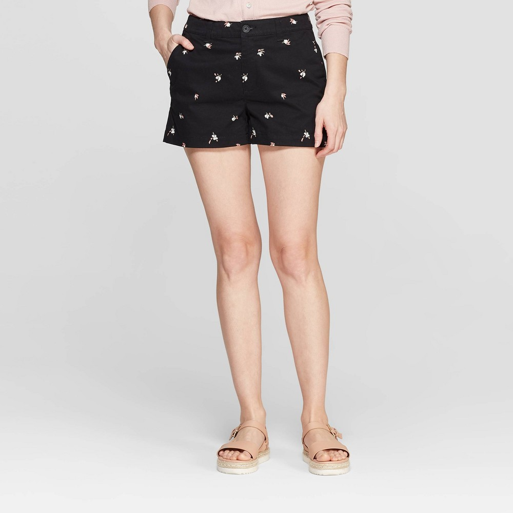 Women's Floral Print High-Rise Chino Shorts - A New Day Black 4