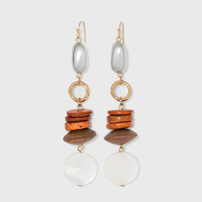 Glass Pearl and Wooden Drop Earrings - A New Day™ Gold