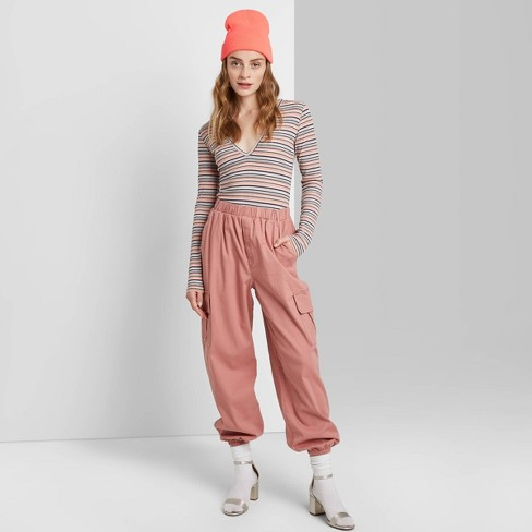 Women's High-Rise Baggy Cargo Pants - Wild Fable™ Rose L - image 1 of 3
