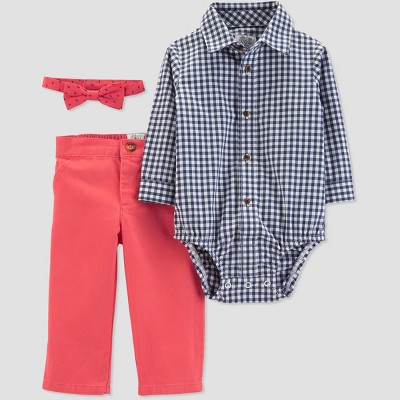 Baby Boys' Plaid and Poppy Top and Bottom Set - Just One You® made by carter's Pink/Blue 3M