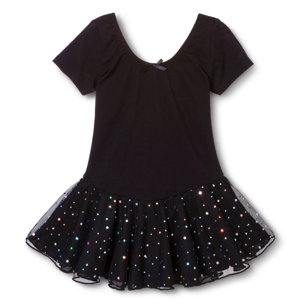 Danz N Motion Girls' Activewear Leotard Dress - Black 6X-7