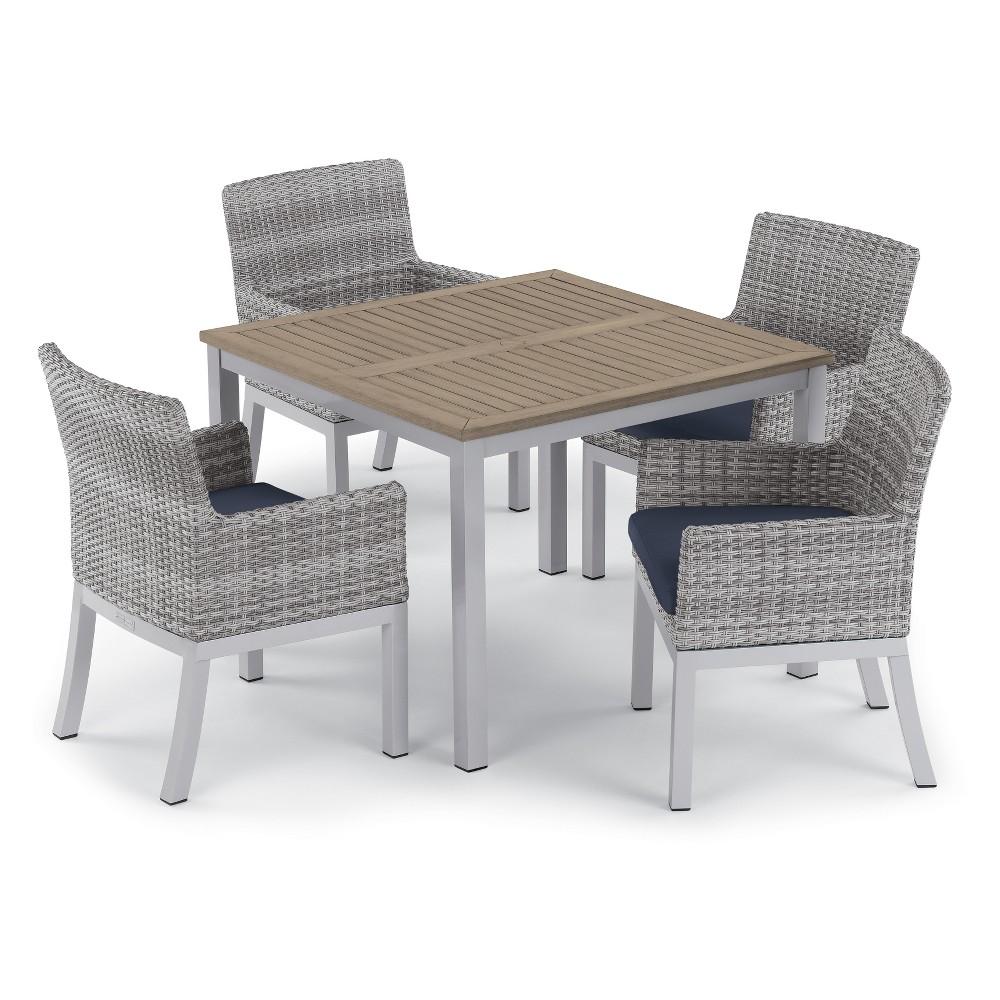 5pc Travira 39 Dining Table & Argento Armchair Set Midnight Blue - Oxford Garden
