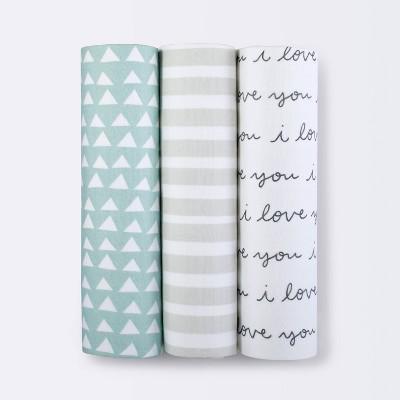 Muslin Swaddle Blanket I Love You 3pk - Cloud Island™ Black/White
