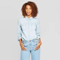 Women's Long Sleeve Labette Denim Woven Shirt - Universal Thread™ Blue