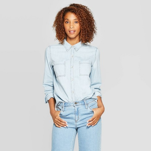 Women's Long Sleeve Labette Denim Woven Shirt - Universal Thread™ Blue - image 1 of 3