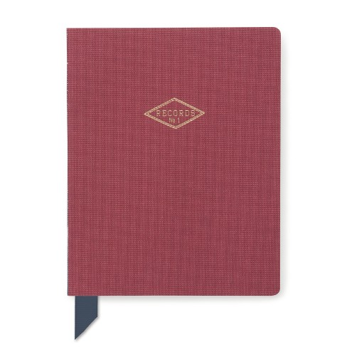 "Cloth Journal 6.7"" x 8.5"" Records Red - Designworks - image 1 of 2"