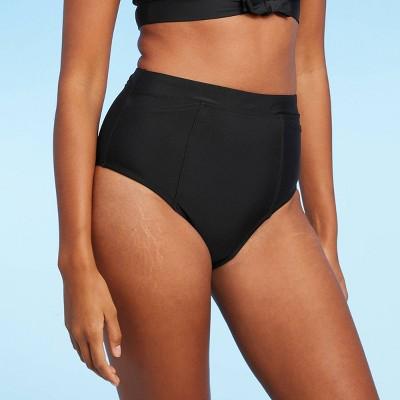 Women's High Waist Modern Bikini Bottom with Pocket - Kona Sol™ Black