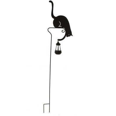 Wind & Weather Black Metal Silhouette Garden Stake of Cat Holding a Solar-Powered Lantern