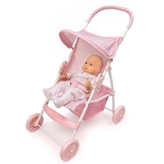 Badger Basket Doll Umbrella Stroller - Pink & White image number null