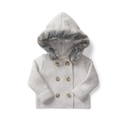 Hope & Henry Layette Grey Baby Sweater with Faux Fur Hood, Infant