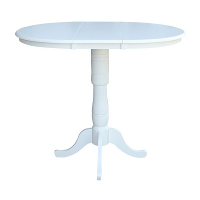 "36"" Kyle Round Top Pedestal Table with 12"" Drop Leaf White - International Concepts"