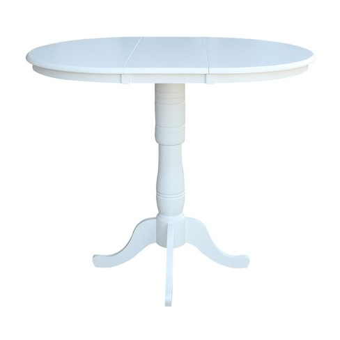 Strange 36 Kyle Round Top Pedestal Table With 12 Leaf Bar Height White International Concepts Caraccident5 Cool Chair Designs And Ideas Caraccident5Info