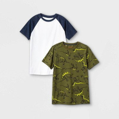 Boys' 2pk Short Sleeve Dino Print T-Shirt - Cat & Jack™ Navy