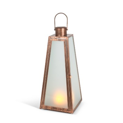 Everlasting Glow 20.88-Inch Tall Triangular Brushed Copper Lantern with FireGlow™ Lights and Timer Feature