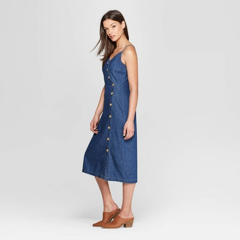 Women s Asymmetrical Button Front Denim Dress - Universal Thread™ Blue    Target 0d6e75a70