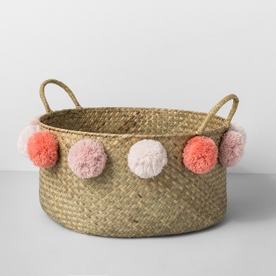 Seagrass Pom Basket - Natural/Pink - Opalhouse™