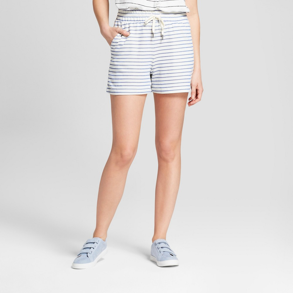 Women's Striped French Terry Shorts - A New Day Navy/White Xxl, Blue