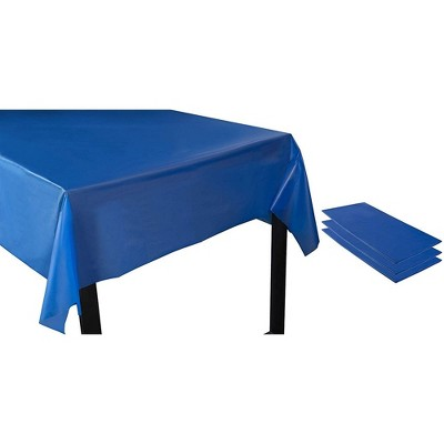 Royal Blue Plastic Tablecloth - 3-Pack 54 x 108-Inch Rectangle Disposable Graduation Table Cover, Fits up to 8-Foot Tables, 4.5 x 9 Feet