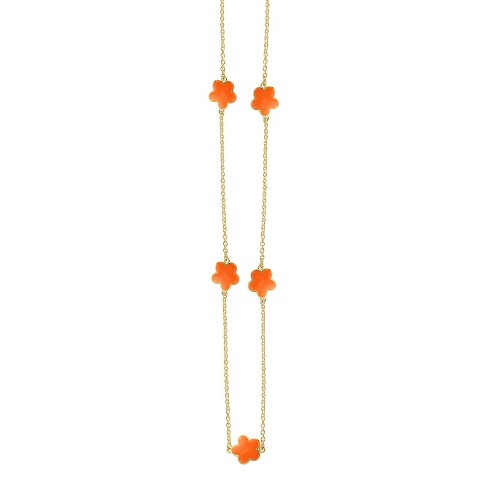 "Zirconite Gold Plated Station Necklace with Enameled Daisies Orange - 40"" - image 1 of 2"