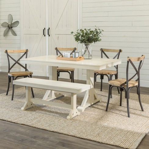 6pc Millwright Dining Group With Bench And 4 Reclaimed Chairs Brown
